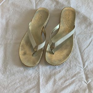 Gold metallic flip flop from Tommy Bahama